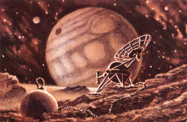 At the moons of Jupiter, A. Sokolov