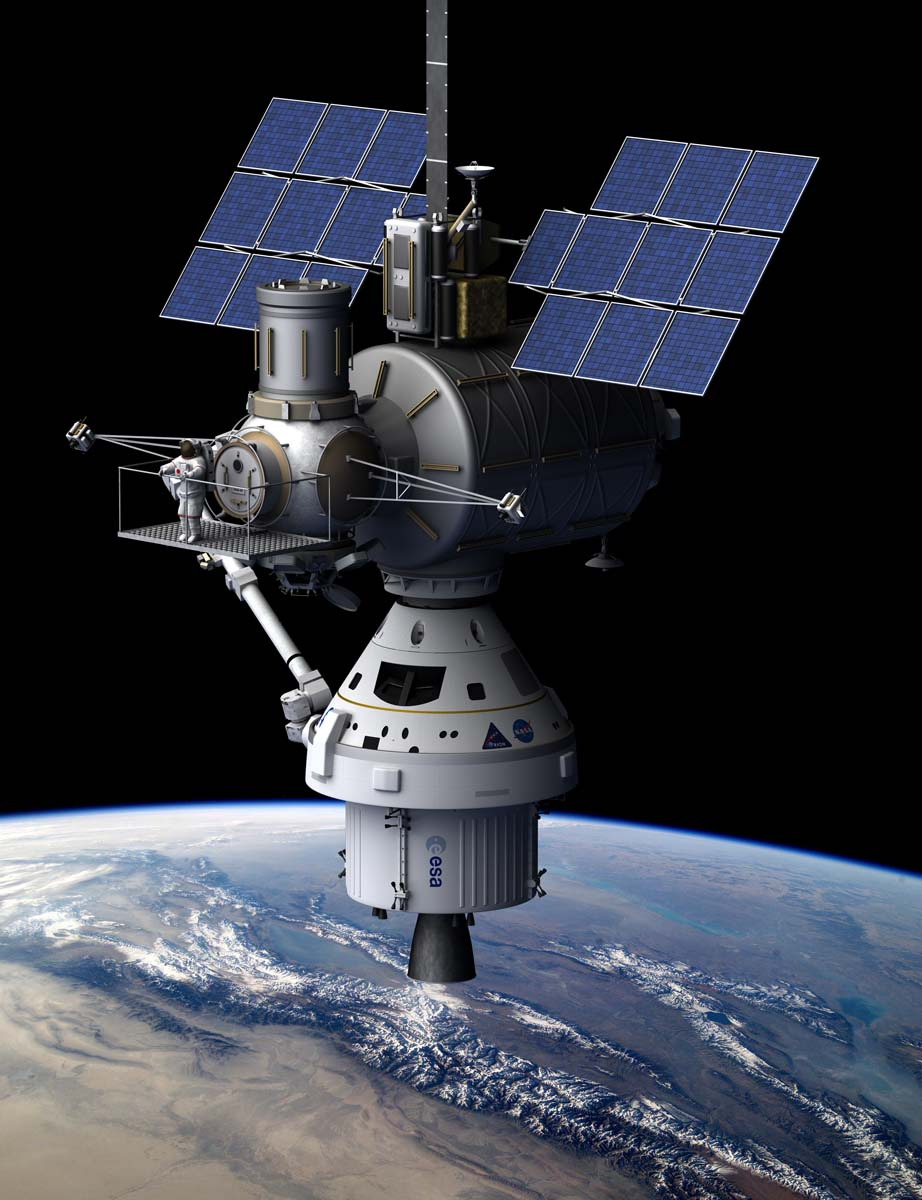 Spacecraft docked with the lower skyhook station