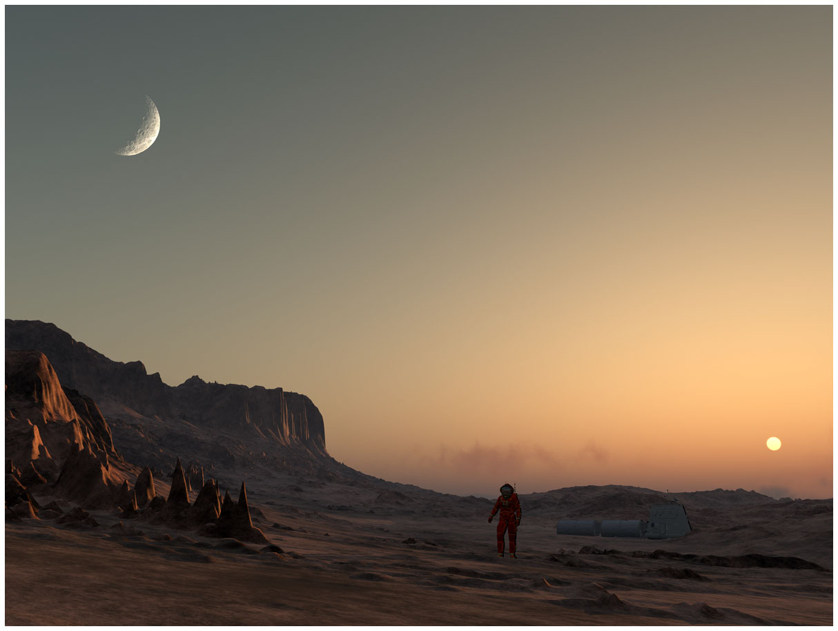 Explorer walking at dusk on a Mars like world.
