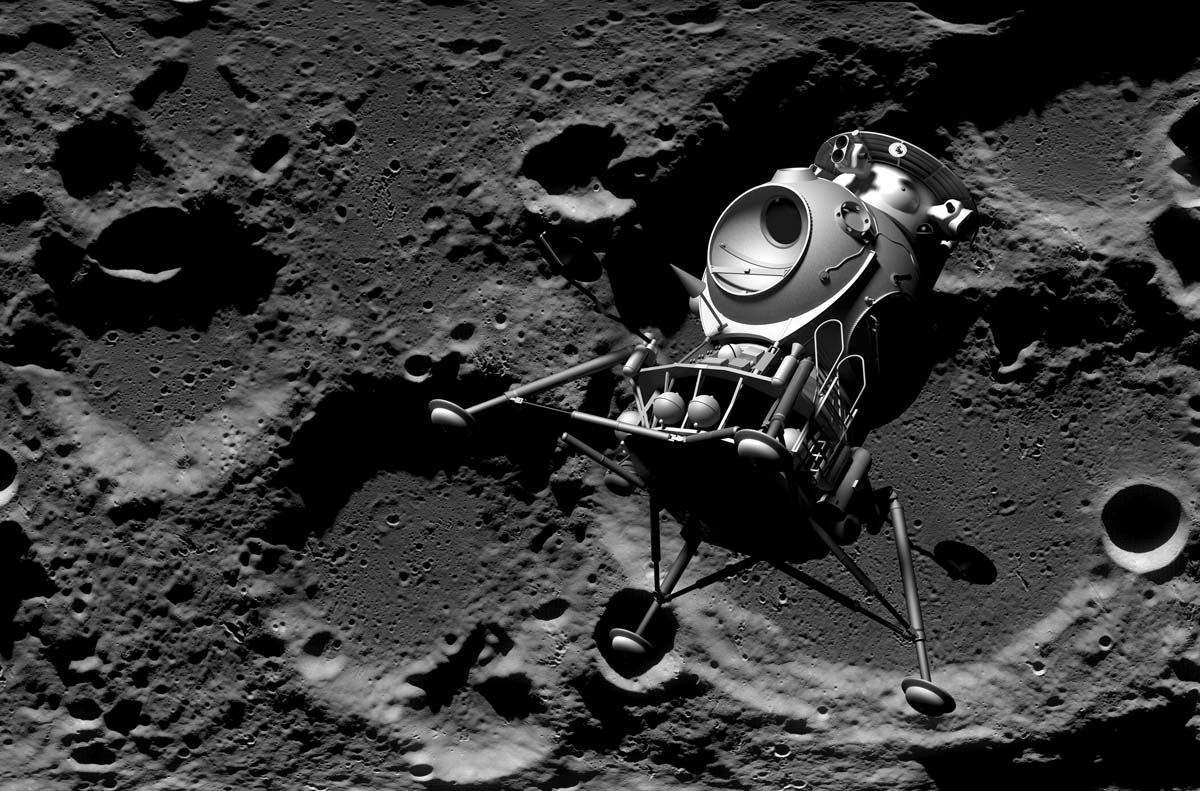 LK Lander descends towards the Lunar Surface