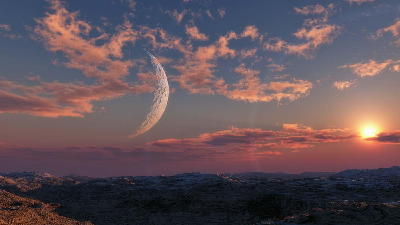 Red sky big moon