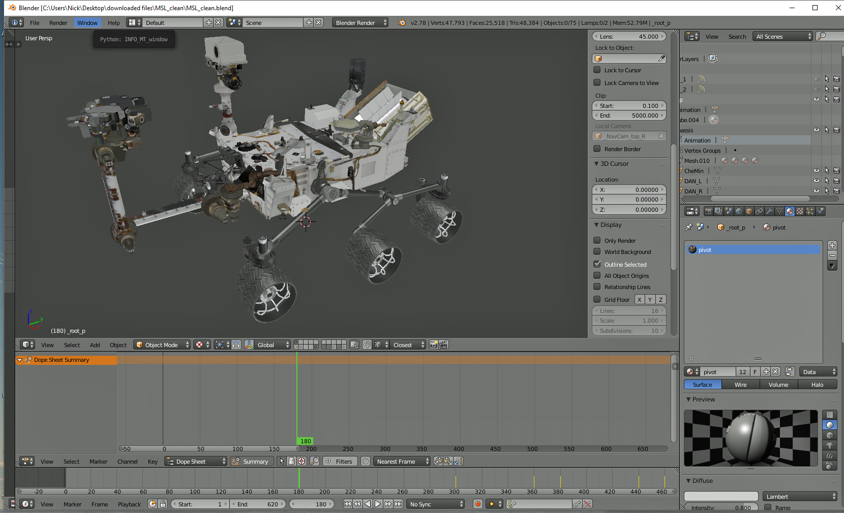 Blender model of the suriosity rover