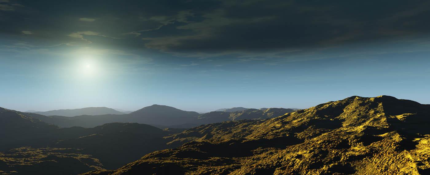 A sulpherous landscape in Vue