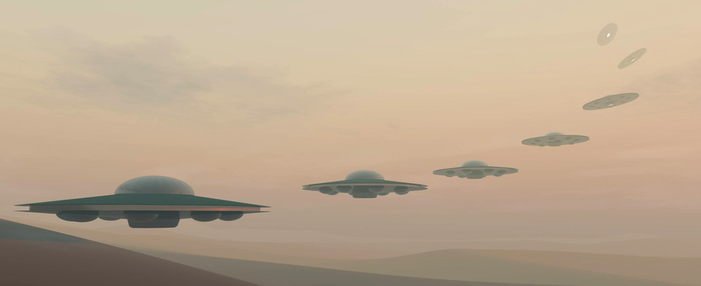 UFOs in the desert haze
