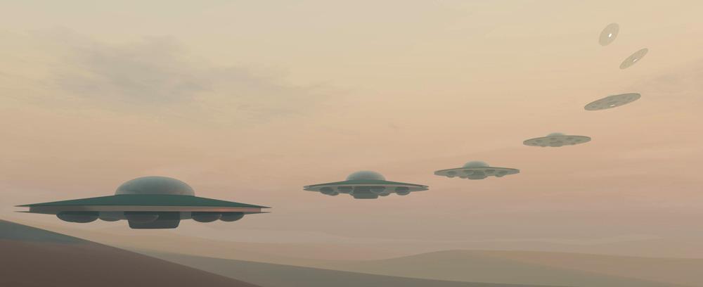 UFOs in the desert haze