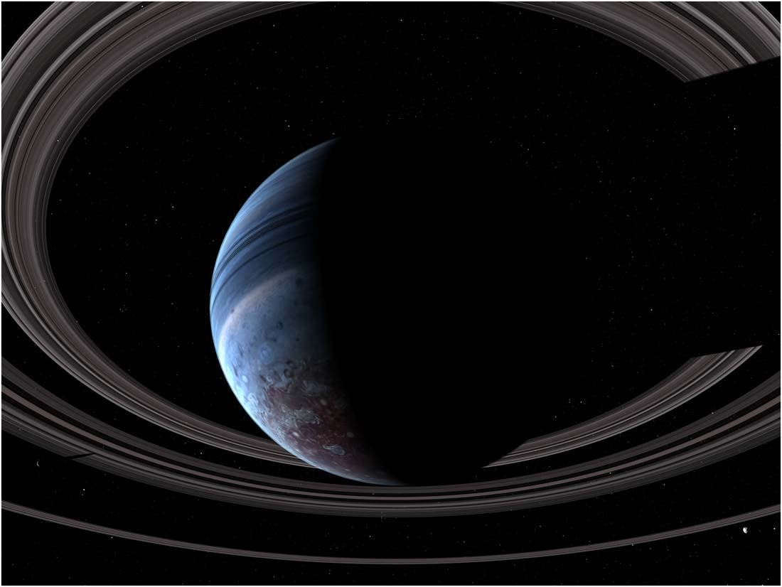Exoplanet from below the rings