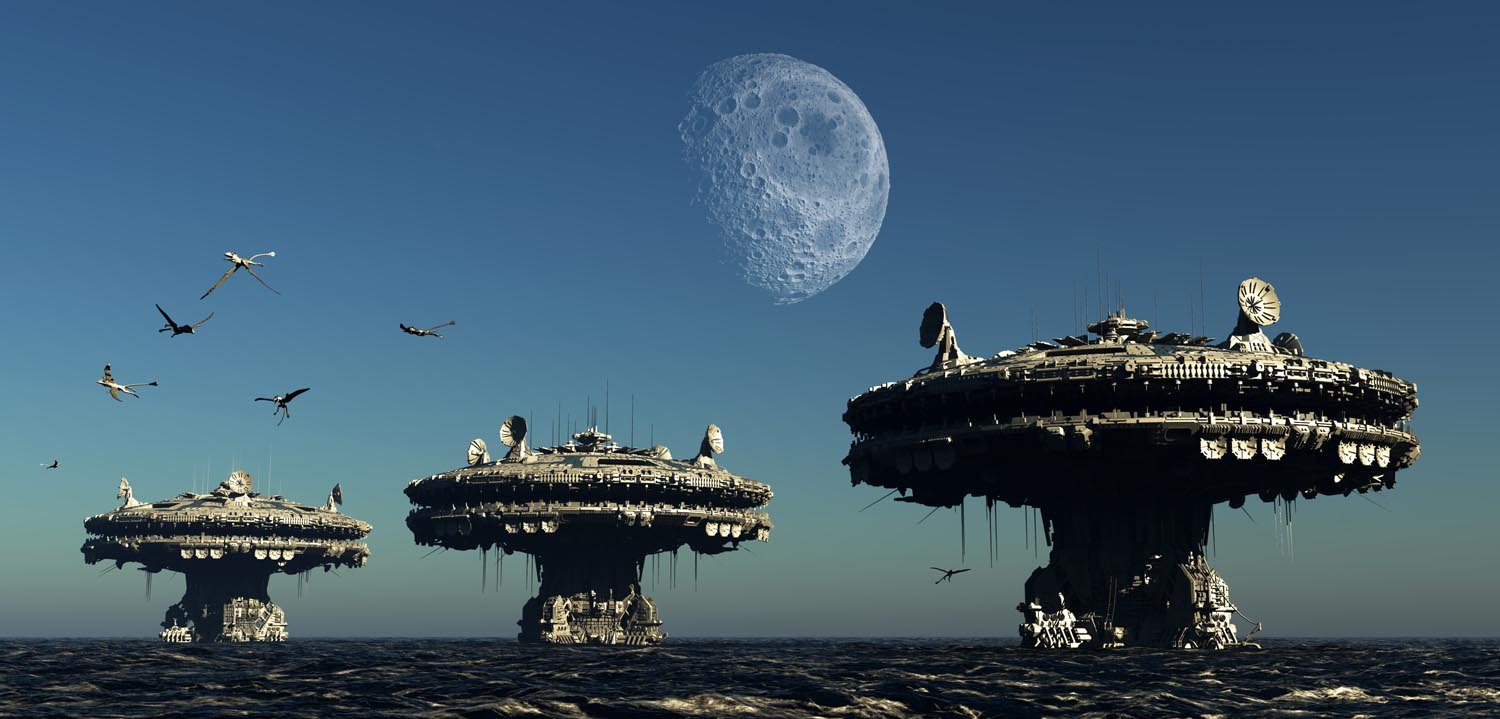 High tech tidal stations with giant moon.