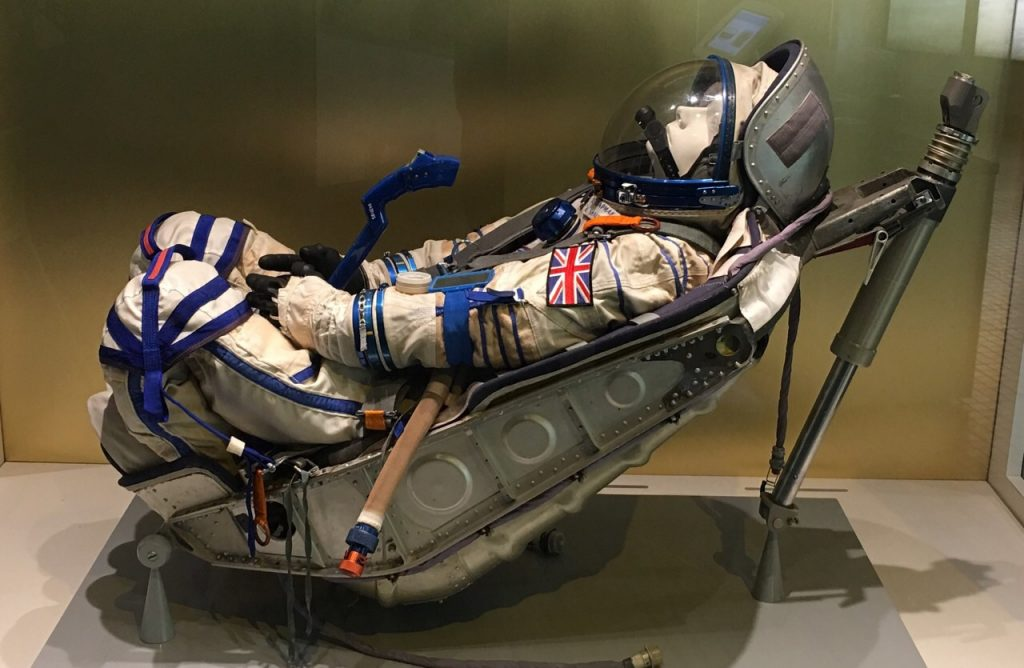 Helen Sharman's Space suit and couch