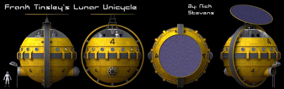 Perspective free views of the Lunar Unicycle design.