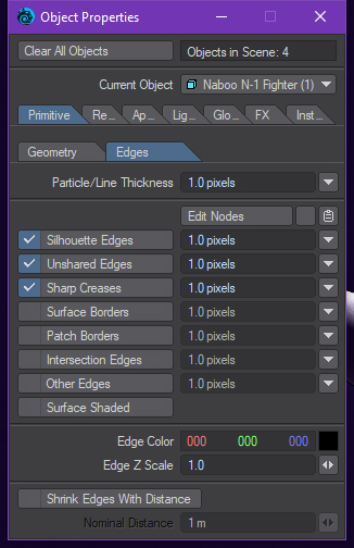Lightwave 2018 edges panel
