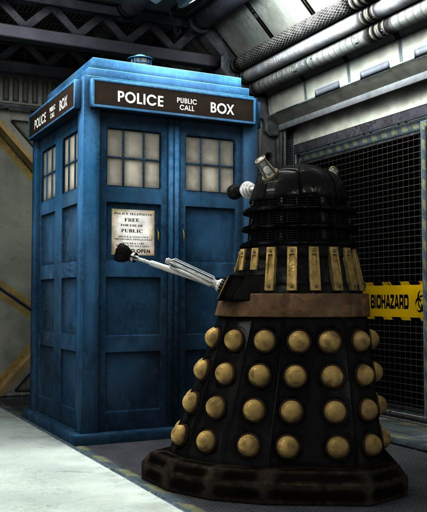 Dalek and Tardis, Render by Nick Stevens