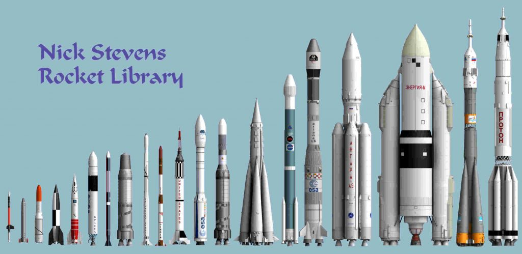 A collection of most of the rockets I have modelled, all done to the same scale.