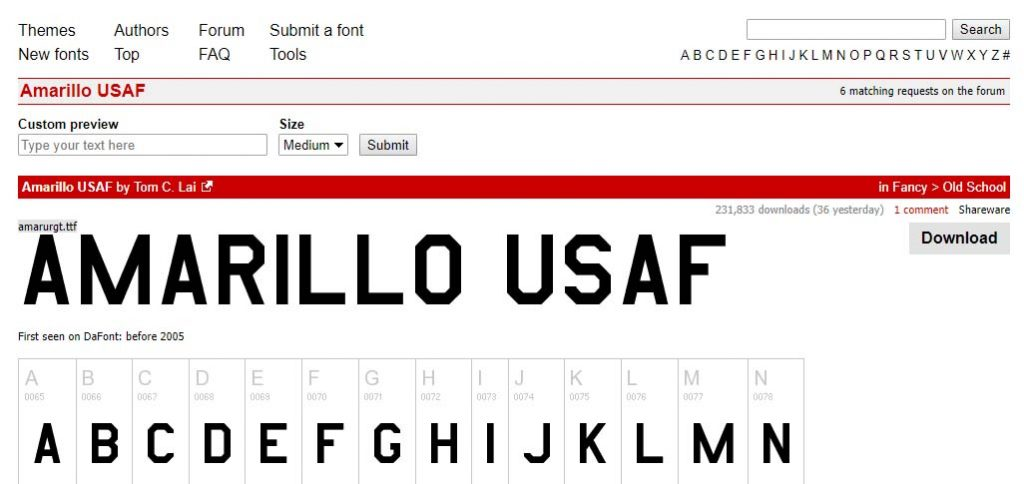 Amarillo USAF Typeface
