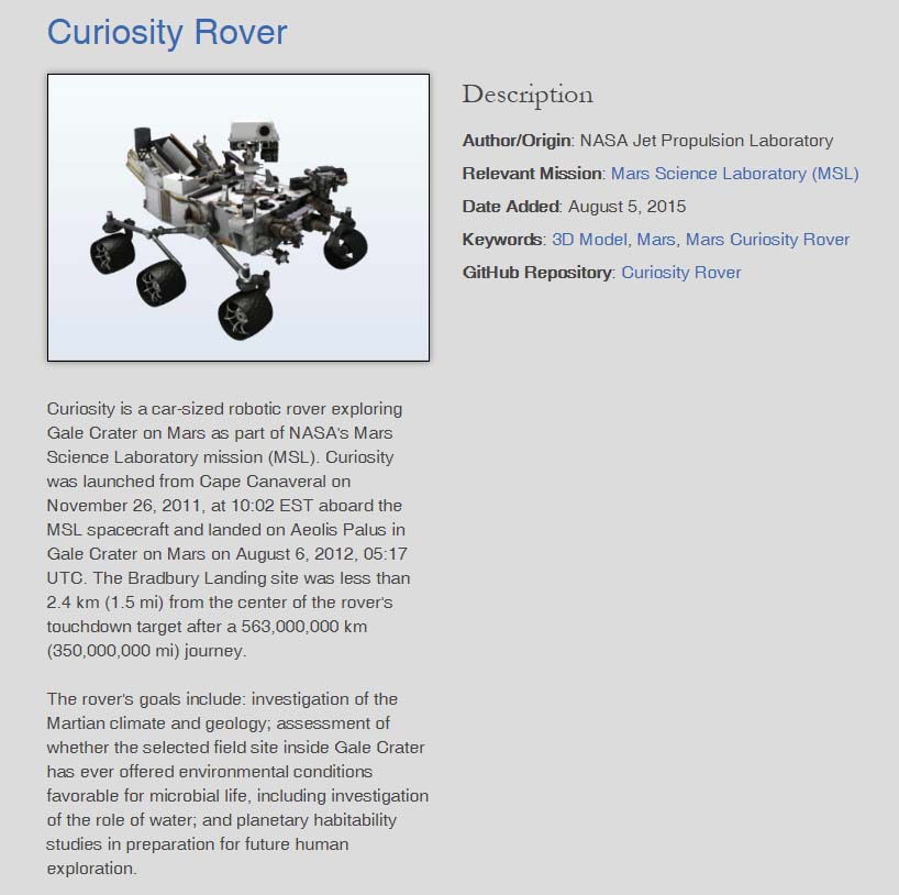 Curiosity Rover Model Download