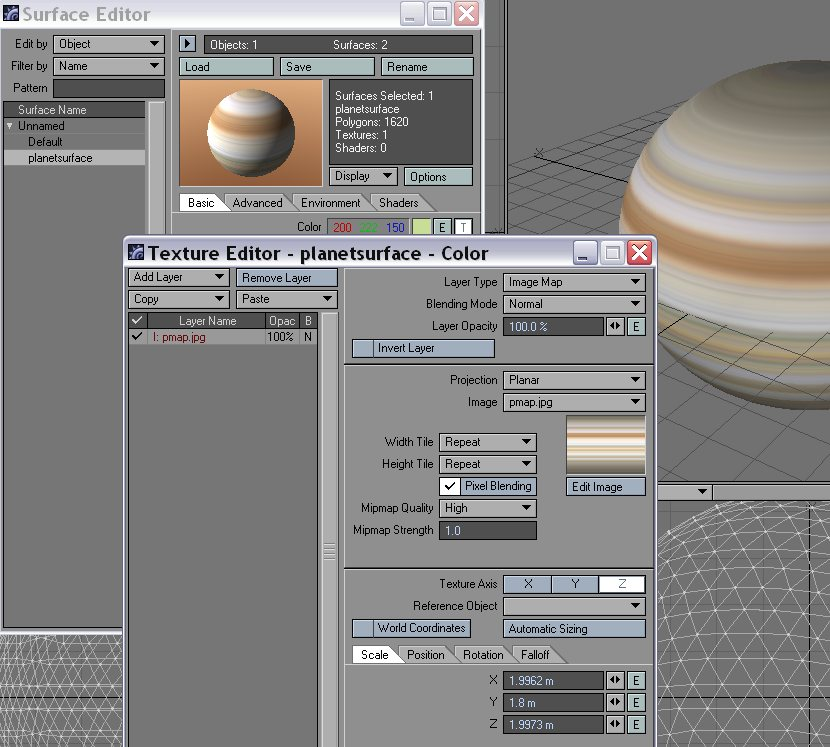 Gas giant texture applied.