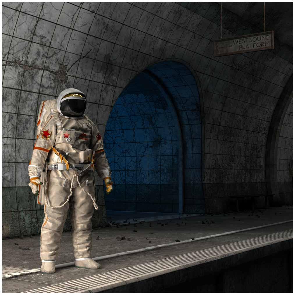 Russian astronaut in an abandoned underground station.