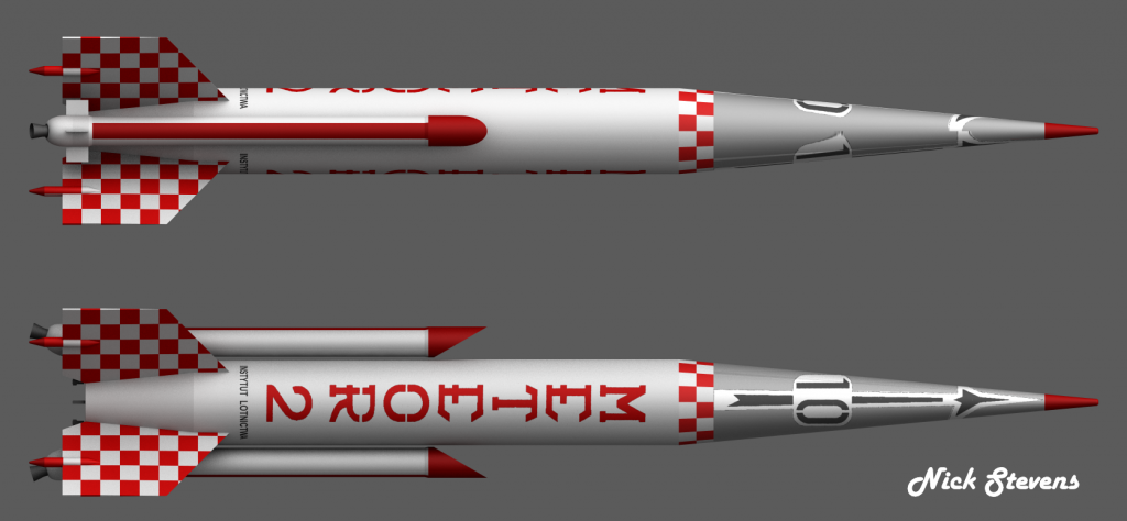 Two views of Poland's Meter 2 Sounding Rocket