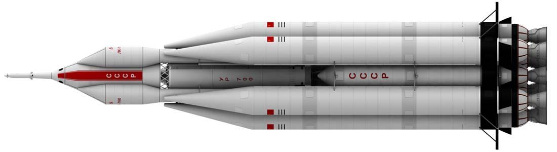 UR-700 Rocket, work in progress, Ortho view